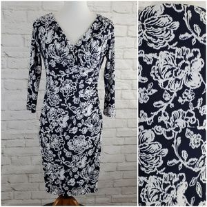 Lauren Ralph Lauren Dress Blue White Floral Career